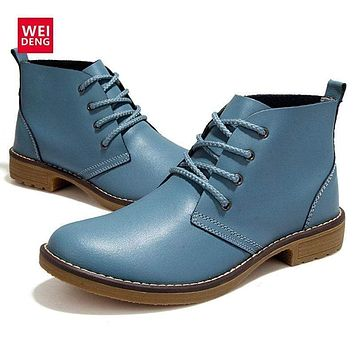 Women Genuine Cow Leather Ankle Length Lace Up Boots/ Oxfords