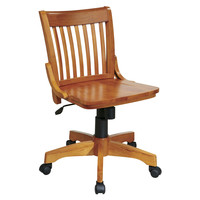 Classic Mid Back Wood Bankers Chair / Desk Chair with No Arms
