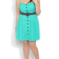 Plus Size Daisy Lace Skater Dress with Bra Bodice and Button Front