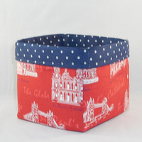 Red, White and Blue British Landmark Themed Fabric Basket For Storage Or Gift Giving