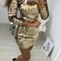 Golden Sequin Glitter Long Sleeve Bedazzled Sparkly Christmas Birthday New Year Party Mini Dress