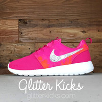 Women's Nike Roshe One Print By Glitter Kicks - Customized With Swarovski Crystal Rhinestones - Fuschia/Pink/Orange/White