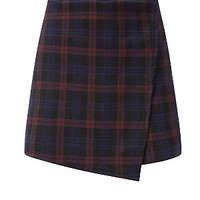Red Check Wrap Mini Skort
