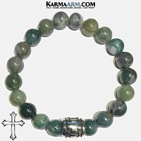 LIVE IN THE MOMENT | Green Moss Agate | Stainless Steel Cross Barrel Bracelet