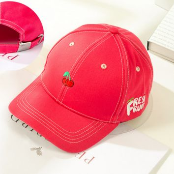 Cute Red Cherry Embroidered Baseball Cap Hat