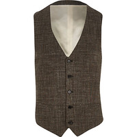 River Island MensBrown textured cross-hatch vest