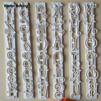 6PCS Set Letters & Numbers Shape Cake Embossing Cutter Decorating Stencil