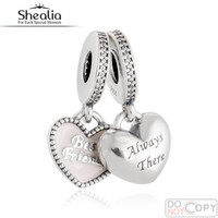 925 Sterling Silver Jewelry Best Friends Hearts Pendant Charms Fit Pandora Bracelet Soft Pink Enamel CZ Heart Beads 2016 Autumn