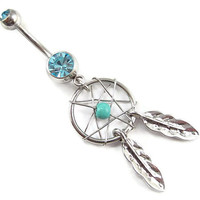 popular Gem dream catcher body jewelry Belly button Ring clear silver piercing Accessary 316Lmedical stainless steel navel ring/nail