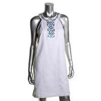 Laundry by Shelli Segal Womens Beaded T-Strap Back Cocktail Dress