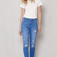 PacSun Kimberley Blue Ripped High Rise Skinny Ankle Jeans at PacSun.com