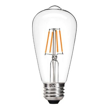 CMYK Vintage Edison LED Bulb, Dimmable 4W ST64 Antique LED Bulb Squirrel Cage Filament Light For Decorate Home, E26, 2200K, Clear Glass, Warm White Warm White 2200K 1 Pack