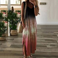 Tie-dye Print Long Dress Women Casual Loose Sleeveless Maxi Dress V-neck Pocket Gradient Color Print Robe Femme