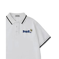 Dior 2019 new embroidered letter bee lapel Polo short sleeve Black