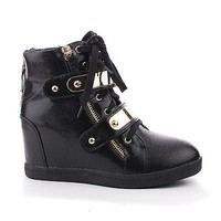 Majorie02 Black Pu By Pazzle, Metallic Wedge Lace Up Velcro Gold Plated Strap Booties