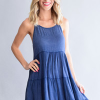 Rolling Stone Navy Tiered Dress