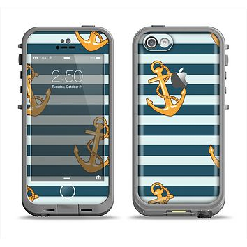 The Navy Striped with Gold Anchors Apple iPhone 5c LifeProof Fre Case Skin Set