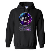 5 seconds of Summer Hoodie. Galaxy sweatshirt. 5 sos. 5sos. 5sos hoodie. 5 sos sweatshirt. 5sos. We carry 5 sos crop tee