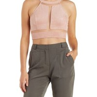 Blush Faux Suede & Mesh Cut-Out Crop Top by Charlotte Russe