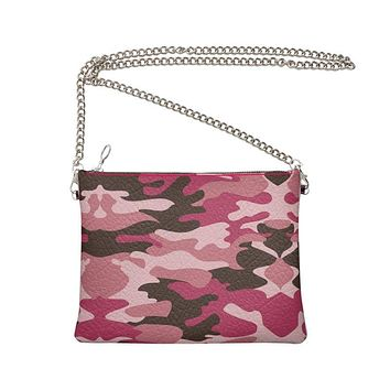 Pink Camouflage Crossbody Bag With Chain by The Photo Access