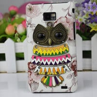 Flower  Hard Case Cover With Antique Brass Cute Owl for Samsung Galaxy S2 S 2 II i9100