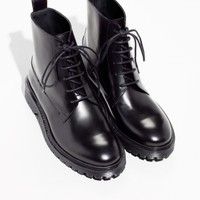 & Other Stories | Lace-Up Leather Boots | Black
