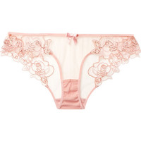 Agent Provocateur - Lindie embellished embroidered tulle briefs