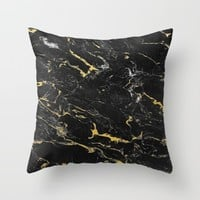 Gold Flecked Black Marble Throw Pillow by Samantha Ranlet | Society6