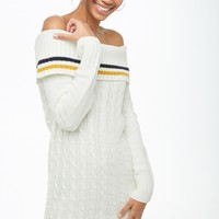 Striped-Trim Off-the-Shoulder Sweater Dress