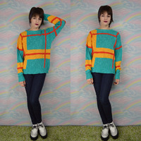 Geometric Sweater Vintage Jumper Hipster Grunge Oversize Slouchy Yellow Red Teal Size Medium Women's Vintage Clothes