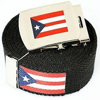 "Canvas Military ""Puerto Rico"" Red White Blue Stripes Web Belt&Match Belt Buckle"