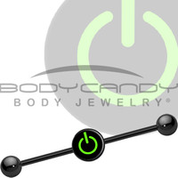 Green Power Button Industrial Barbell | Body Candy Body Jewelry