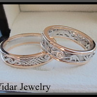 Two Tone Gold And Diamond Matching Wedding Band | Vidar Jewelry - Unique Custom Engagement And Wedding Rings