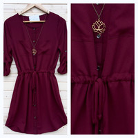 A Drawstring Tunic Dress in Wine