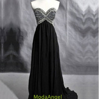 Strapless A-Line Classic Sweetheart Beaded Floor-Length Black Chiffon Crystals Beading Prom Dresses