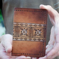 Passport Case Holder Cover Leather Wallet Anniversary Gift For Husband Ornate Brown Aztec Print Valentine Gift For Guys Present Vintage