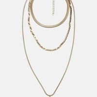 Missguided - Gold Triple Snake Chain Pendant Necklace