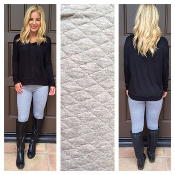 Warm Me Up Quilted Leggings - GREY