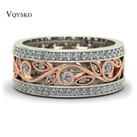 Shiny Rose Gold Ring Flower Zircon Engagement Ring Fashion Jewelry Wedding Rings for Women