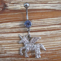 Belly Button Ring - Body Jewelry - Silver Rhinestone Unicorn with Lt. Purple Gem Stone Belly Button Ring