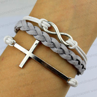 Infinity and cross bracelets, silver charm, god bless the bracelet - best maid of honor, a birthday present