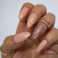 Nude Stiletto Nails, Holographic stiletto nails, Fake nails, Kylie jenner, Glitter Nails, Press on nails, Acrylic nails, Glue on nails, Nail