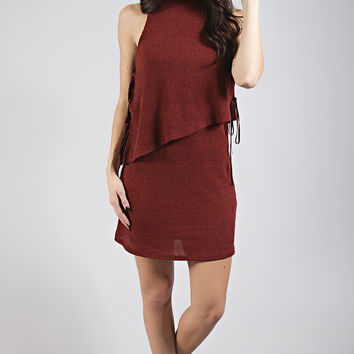 let go lace up layer dress - wine