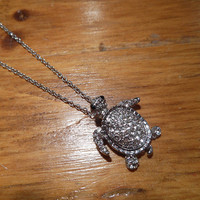 Silver Rhinestone Turtle Necklace   Candy's Cottage