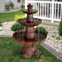 3-Tier Garden Fountain in Durable Poly-Vinyl Composite- Bronze Color