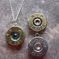 Bullet Necklace- Birthstone Necklace- Solitaire- 38 Special- Ammo- Bullet Jewelry- Country Girl Necklace- Western- Unique- Unusual- Pendant
