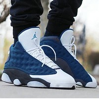 AJ13  Air Jordan 13 Fashion Women Men Sport Running Basketball Shoes Sneakers White&Navy Blue