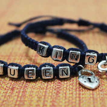 His /& Hers Matching Set King Queen Couple Key Lock Bracelet and Pendant Set Couple King and Queen Jewelry in a Gift Box