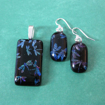 Dragonfly Pendant and Earring Set, Dichroic Fused Glass Jewelry - Midnight Flight -4390--3