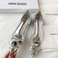 AMINA MUADDI Stylish Women Transparent Diamond Pointed Single Shoes
